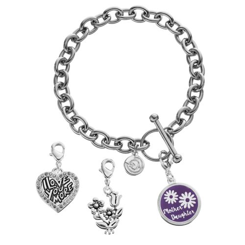 love this life Silver Plated Mother Daughter Heart & Flower Charm & Bracelet Set