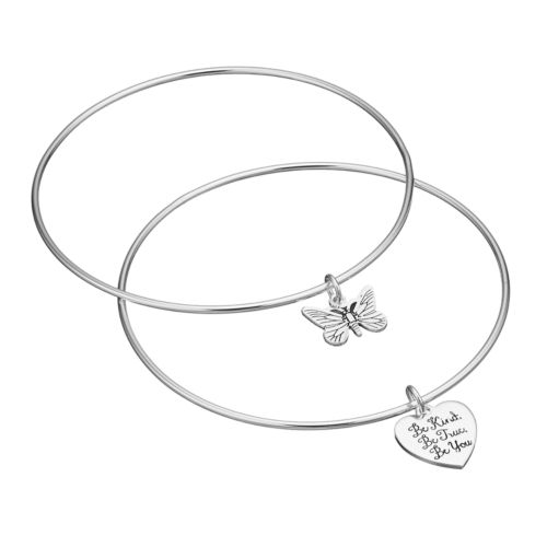 love this life Butterfly Charm Bangle Bracelet Set
