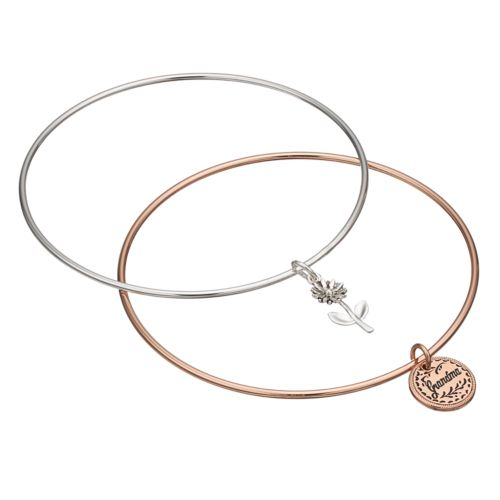 "love this life ""Grandma"" Flower Charm Bangle Bracelet Set"