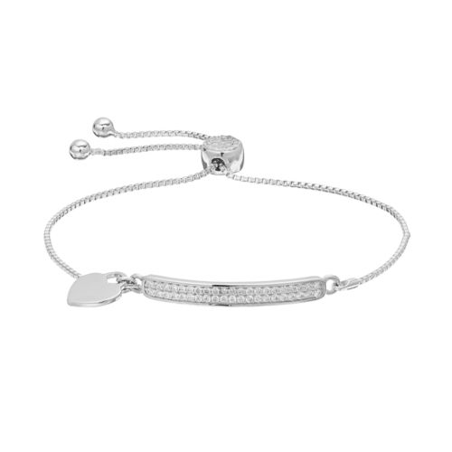 Brilliance Curved Bar Lariat Bracelet with Swarovski Crystals