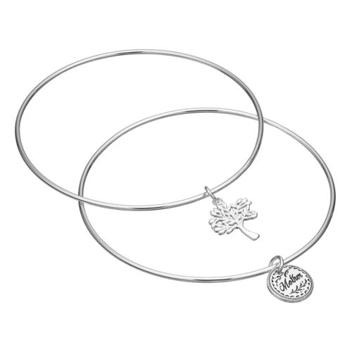 love this life Mother Tree Charm Bangle Bracelet Set