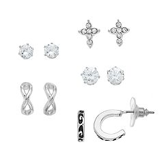 Apt. 9® Cubic Zirconia Cross & Half Hoop Earring Set
