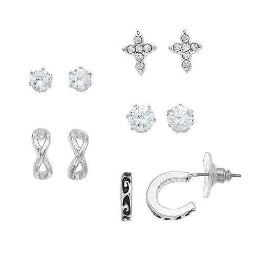 Apt. 9® Cubic Zirconia Cross & Half Hoop Earring Set