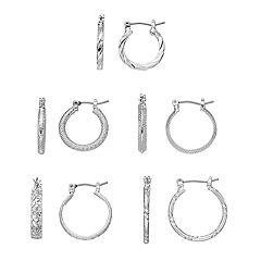 Apt. 9®  Silver Tone Hoop Earring Set