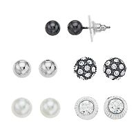 Apt. 9® Simulated Pearl & Simulated Crystal Stud Earring Set