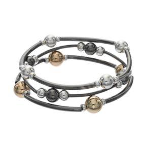 Apt. 9® Tri Tone Beaded Curved Bar Stretch Bracelet Set