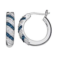 Silver Luxuries Crystal Striped Hoop Earrings