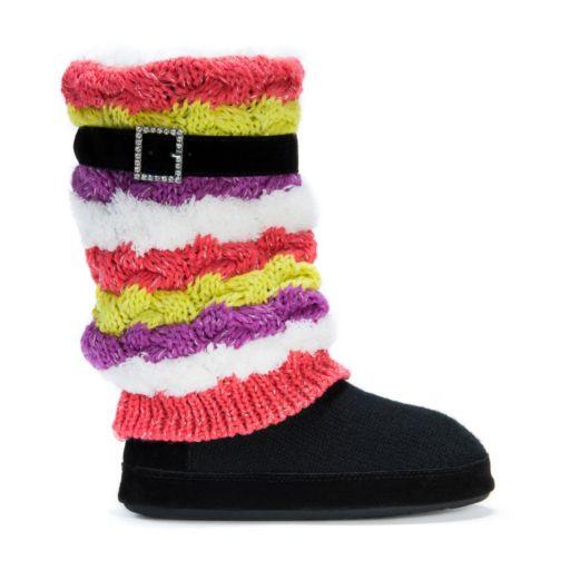 MUK LUKS Women's Fiona Striped Boot Slippers