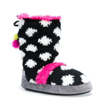 MUK LUKS Women's Jenna Polka Dot Boot Slippers