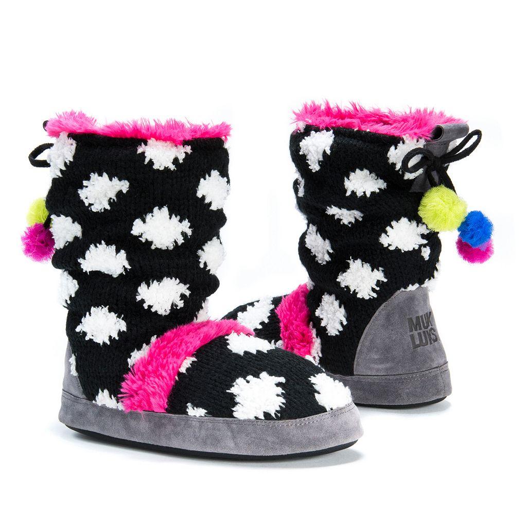 MUK LUKS Women's Jenna Polka Dot Boot Slippers