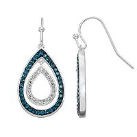 Silver Luxuries Crystal Double Teardrop Earrings