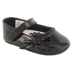 Baby Girl Wee Kids Black Patent Leather Perforated Mary Jane Crib Shoes