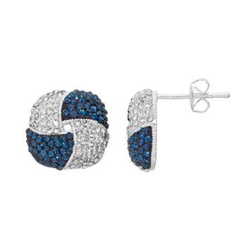 Silver Luxuries Crystal Knot Drop Earrings