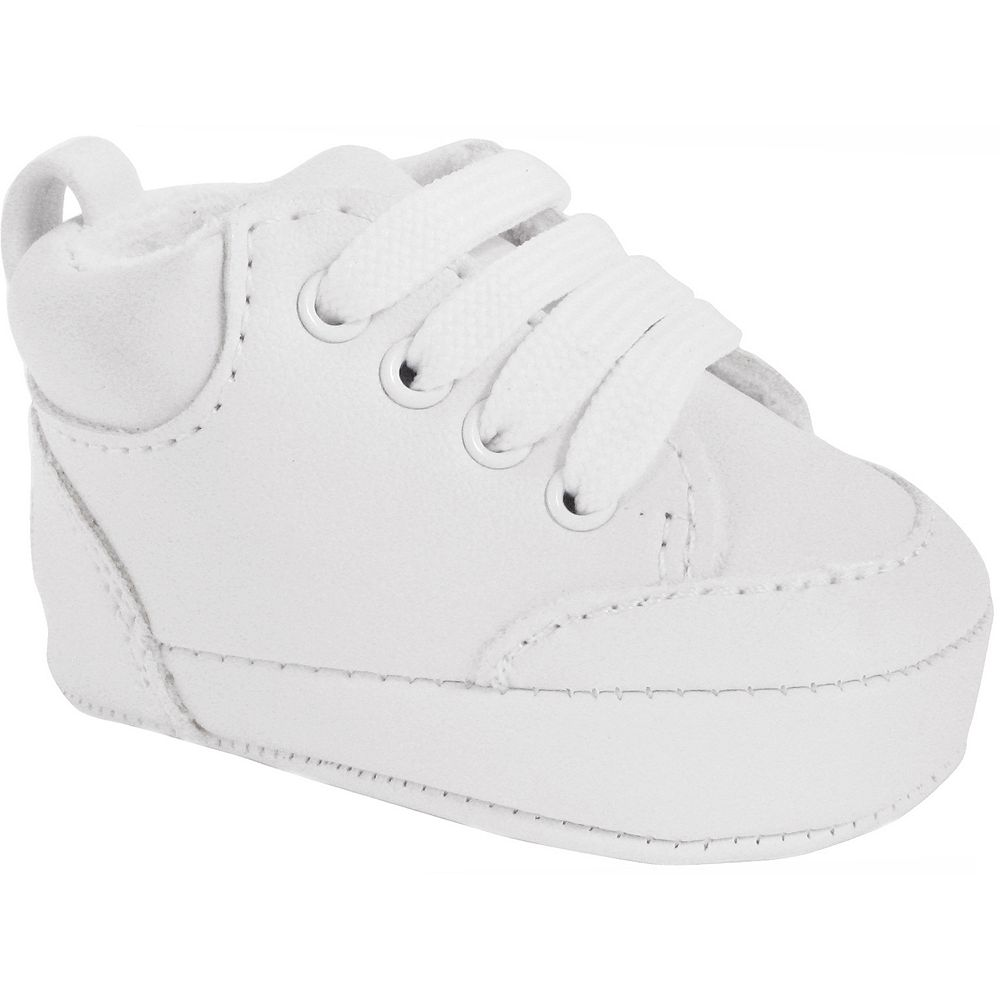 discount shop official where to buy Baby Wee Kids White High-Top Lace Up Crib Shoes