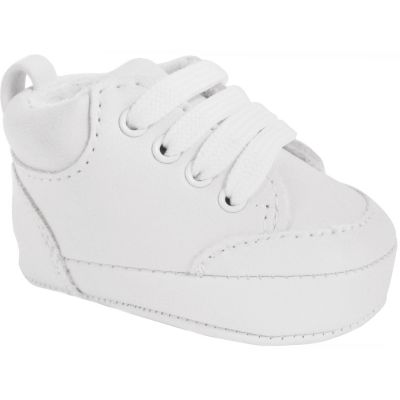 Baby Wee Kids White High-Top Lace Up Crib Shoes