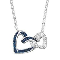 Silver Luxuries Crystal Interlocking Heart Necklace
