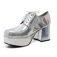 Adult Silver Metallic Platform Costume Shoes