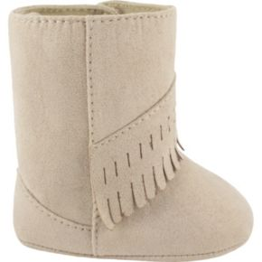 Baby Wee Kids Faux-Suede Fringe Moccasin Boot Crib Shoes