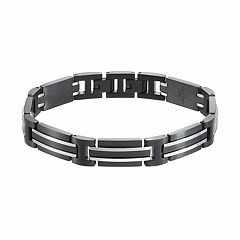 LYNX Men's Stainless Steel Rectangle Link Bracelet