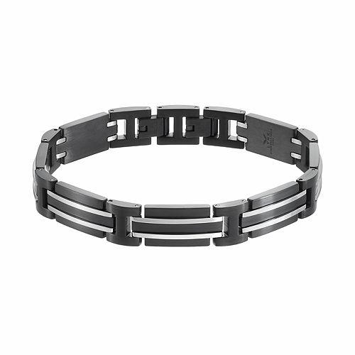 LYNXMen's Stainless Steel Rectangle Link Bracelet