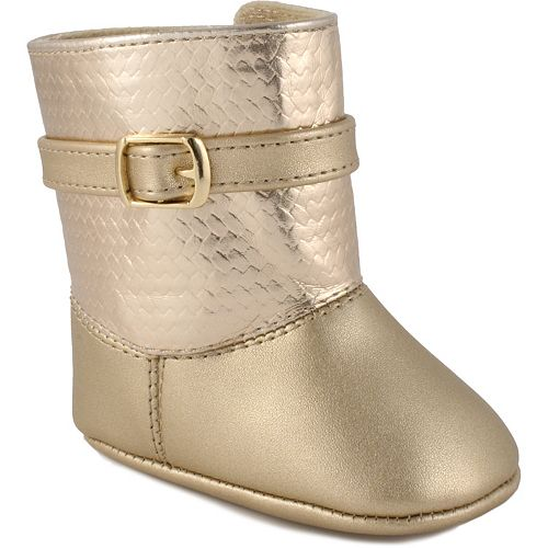 Baby Girl Wee Kids Metallic Boot Crib Shoes