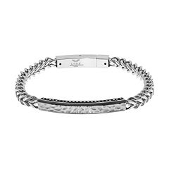LYNX Men's Stainless Steel Foxtail Chain Hammered ID Bracelet