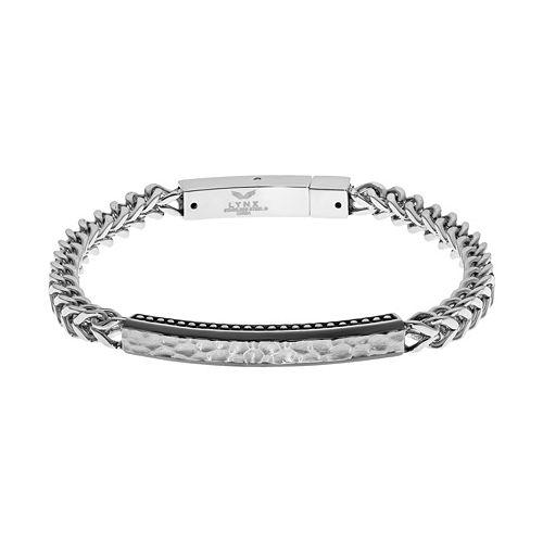 LYNXMen's Stainless Steel Foxtail Chain Hammered ID Bracelet
