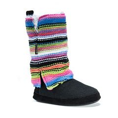 MUK LUKS Women's Trisha Striped Boot Slippers