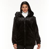 Plus Size Gallery Hooded Embossed Faux-Fur Jacket