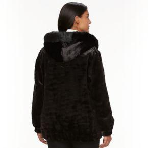 Plus Size Gallery Hooded Embossed Faux-Fur Jacket