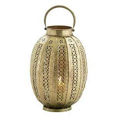 Gold Finish Oblong Candle Lantern