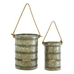 Galvanized Lantern 2-piece Set