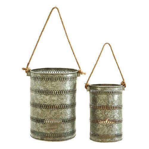Galvanized Lantern 2-piece Set