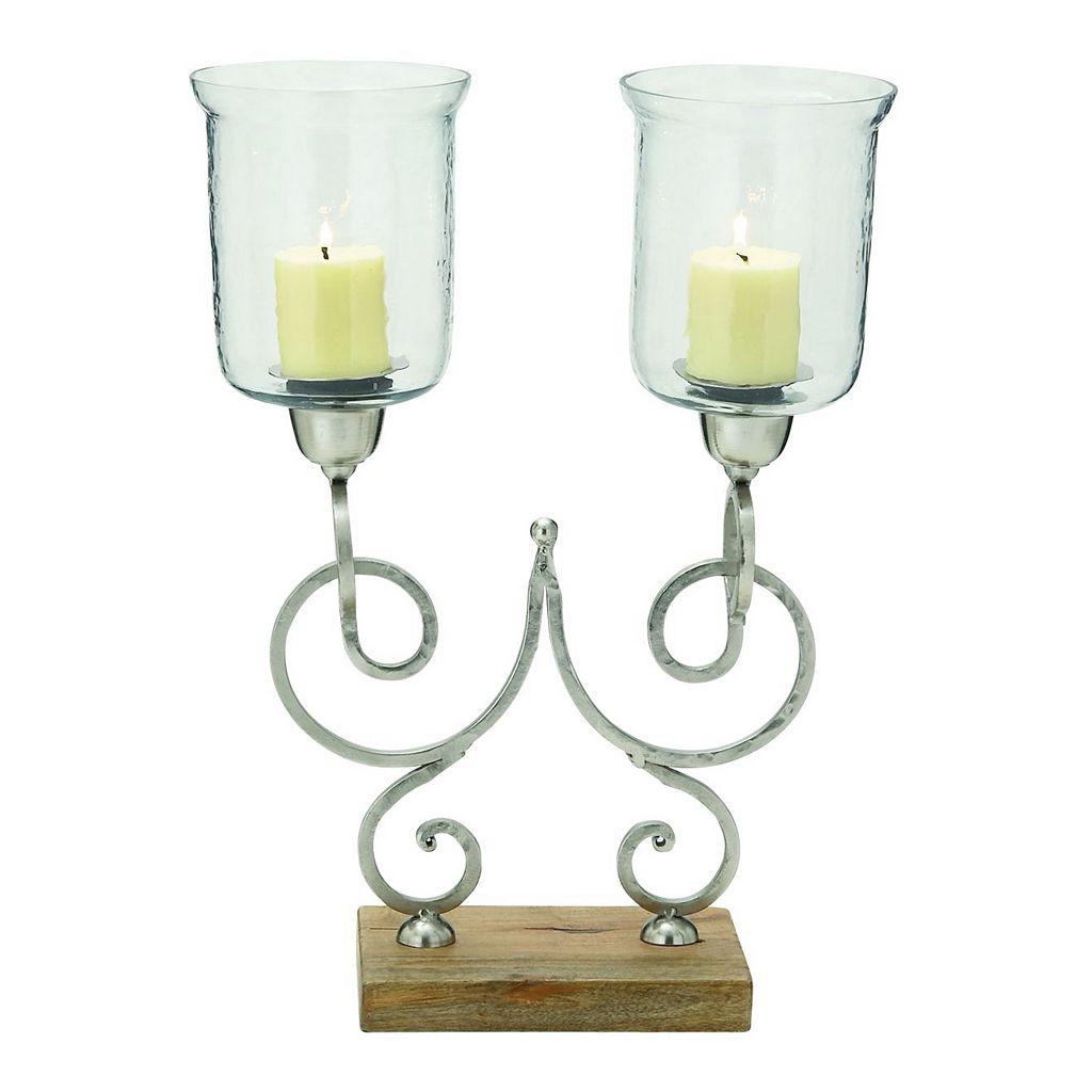 Scroll Hurricane Glass Candle Holder