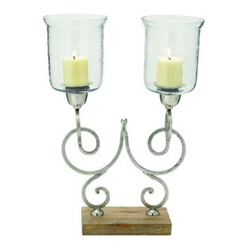 Scroll Hurricane Glass Candle Holder