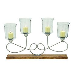 Wrought Iron Looped Glass Candle Holder