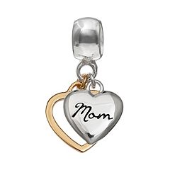 Individuality Beads Two Tone Sterling Silver 'Mom' Heart Charm