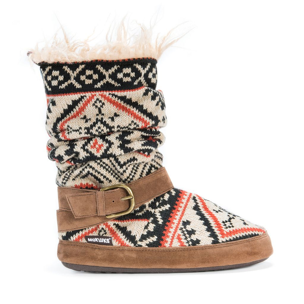 MUK LUKS Women's Lisen Knit Boot Slippers