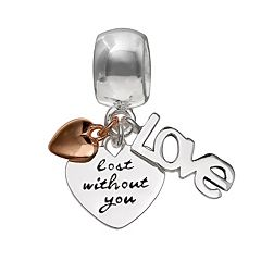 Individuality Beads Sterling Silver 'Lost Without You' Heart Charm