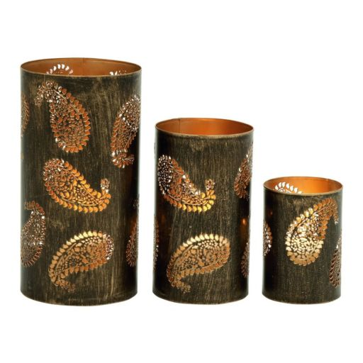 Rustic Paisley Candle Holder 3-piece Set