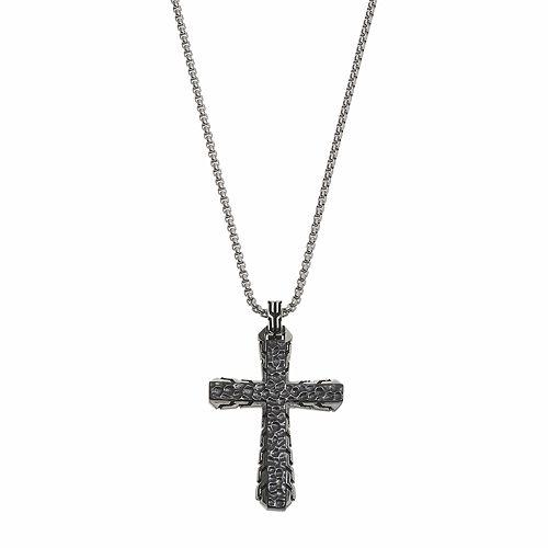 LYNX Men's Stainless Steel Hammered Cross Pendant Necklace