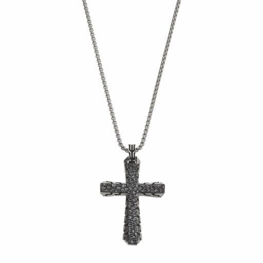 LYNX Men's Stainless Steel Hammered Cross Pendant Necklace