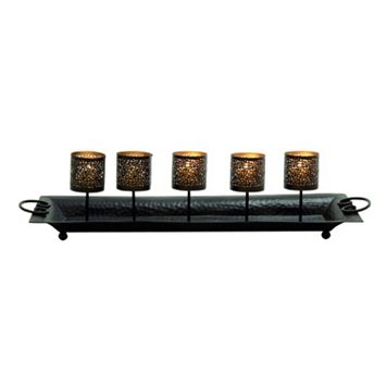 Rustic Iron Candle Holder Tray