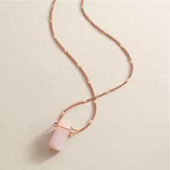 LC Lauren Conrad Long Pink Rectangle Necklace