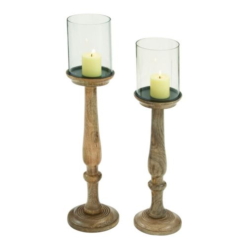 Wood Hurricane Glass Candle Holder 2-piece Set