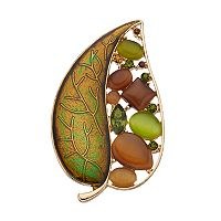 Green & Brown Cabochon Leaf Pin