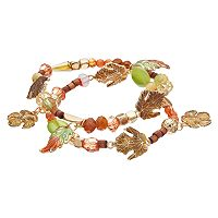 Beaded Leaf Charm Stretch Bracelet Set