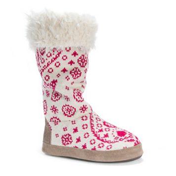 MUK LUKS Women's Maleah Snowflake Knit Boot Slippers