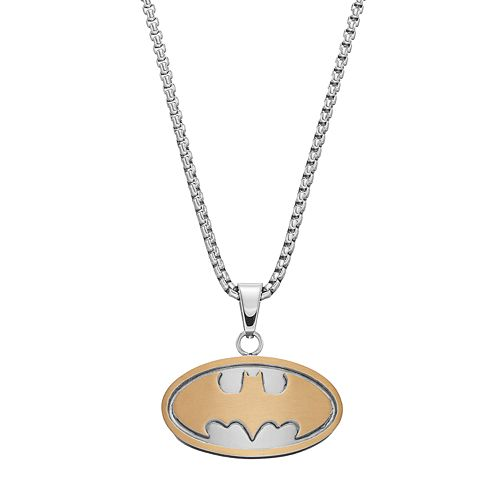 Men's Two Tone Stainless Steel DC Comics Batman Pendant Necklace
