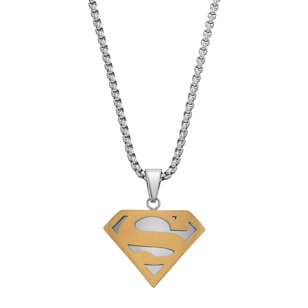 Mens two tone stainless steel dc comics superman pendant necklace mozeypictures Gallery